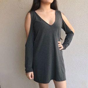 Tobi Grey Long Sleeve Shift Dress Small